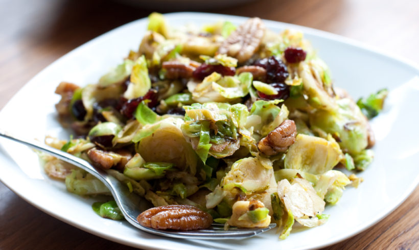 Roasted Brussel Sprouts with Pecans and Garlic