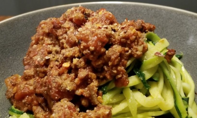 Tofu Bolognese with Zucchini noodles