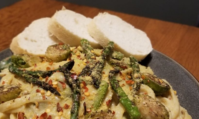 Brussel Sprout and Asparagus Pasta